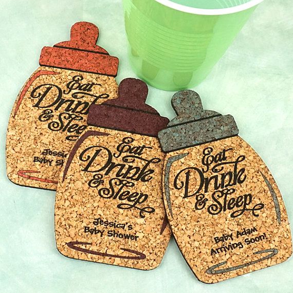 Baby Shower Favor Coaster, Personalized Baby Bottle Shaped Cork Coasters, Baby Shower Cork Coaster Favors - Set of 12