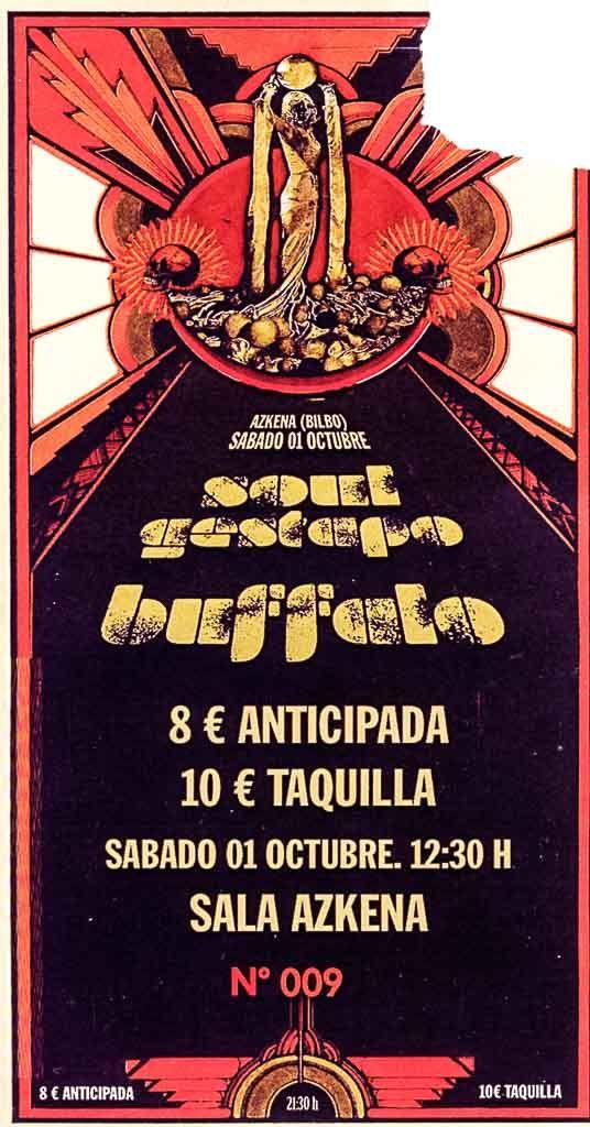 BUFFALO y SOUL GESTAPO Sala Azkena, Bilbao, 1/X/2016 | Entrada (Diseño: Aitor Ochoa) | GALERÍA completa || Full GALLERY: http://denaflows.com/galerias-de-fotos-de-conciertos/b/buffalo/ | http://denaflows.com/galerias-de-fotos-de-conciertos/s/soul-gestapo/