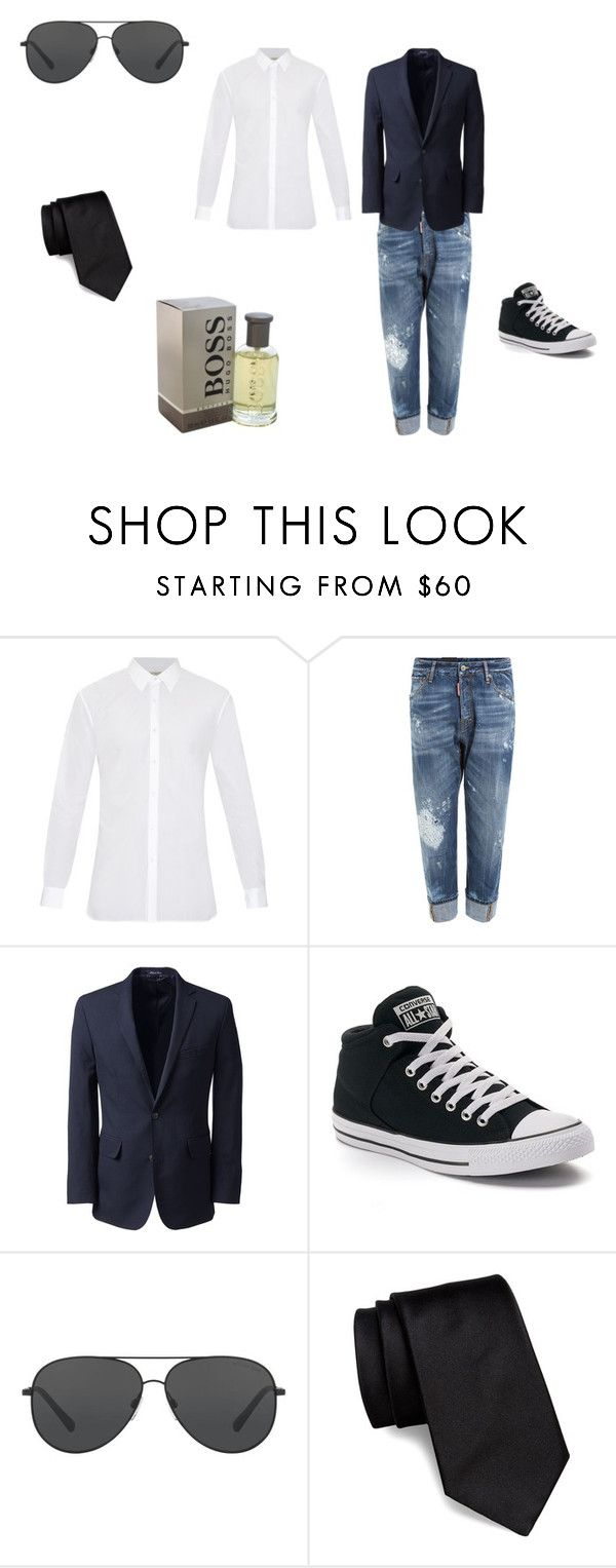 """Untitled #26"" by sterian-ioana on Polyvore featuring Burberry, Dsquared2, Lands' End, Converse, Michael Kors, BOSS Hugo Boss, HUGO, men's fashion and menswear"