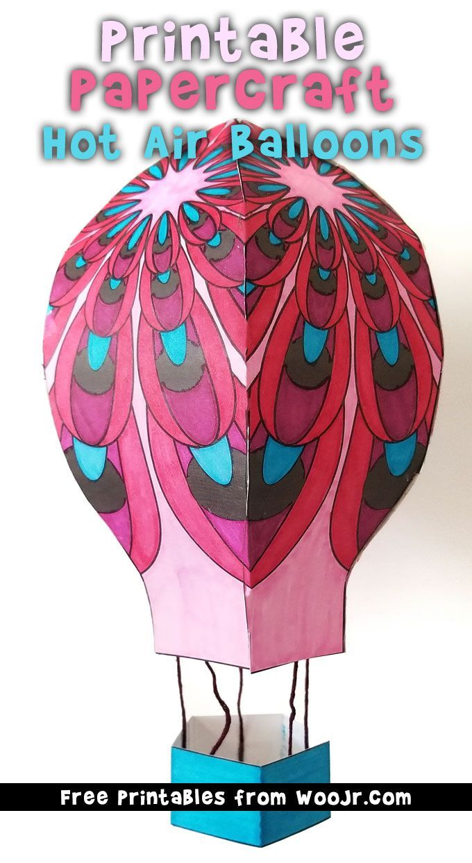 Hot Air Balloon Printable Papercraft Papercrafts For Kids Hot