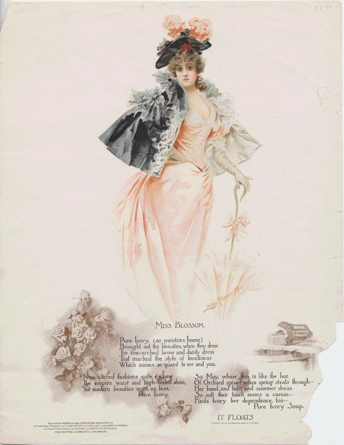 Miss Blossom, dressed in pink in this 1899 Ivory Soap advertisement, might enjoy DC's cherry blossom festivities.