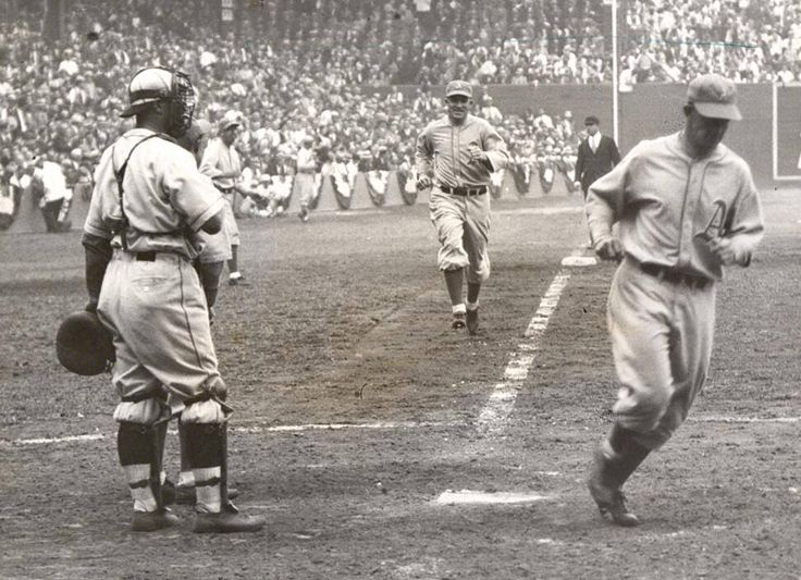 October 1, 1931 at Sportsman Park: Al Simmons hit a 2 run Home Run i the 7th inning during Game 1 of 1931 World Series putting the A's up 6-2 over Cardinals. But despite losing the first game St Louis would win the series in seven games in a huge upset.