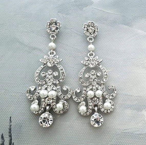 Chandelier Wedding Earrings Bridal Pearl and Crystal Jewelry Statement vintage style rhinestone