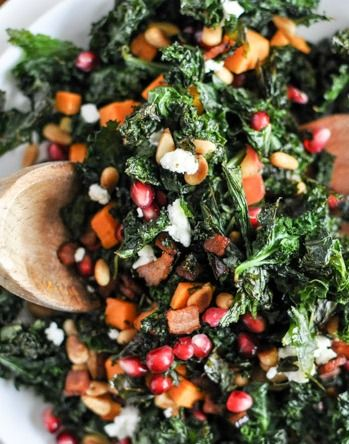 Kale definitely needs to be crisped, wilted, or massaged with more dressing to get the right texture. The apple-sweet potato-shallot combo is delicious on its own! Top with grilled chicken for a complete meal.