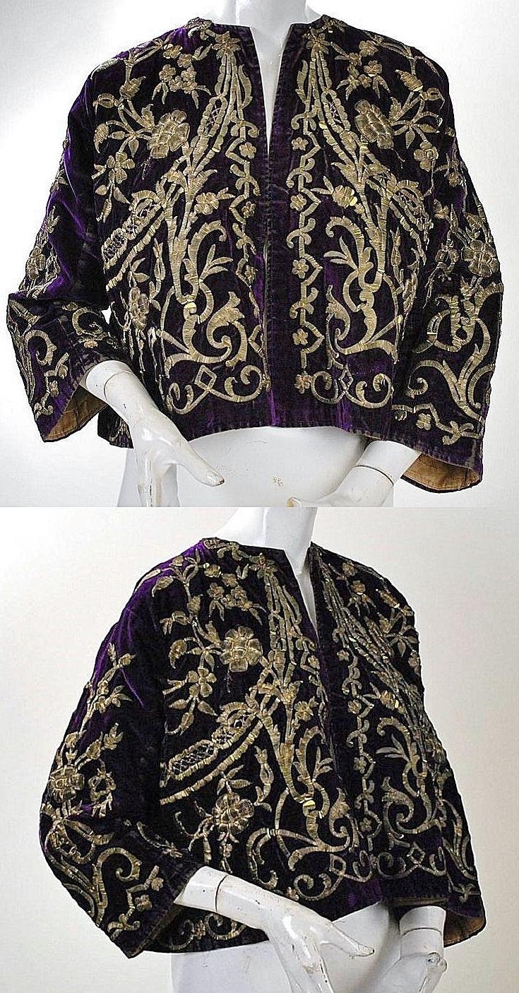 Woman's 'cepken' (long-sleeved jacket). Late-Ottoman, end of 19th century. Gold metallic embroidered purple velvet; technique: 'Maraş işi'. Possibly from Erzurum.