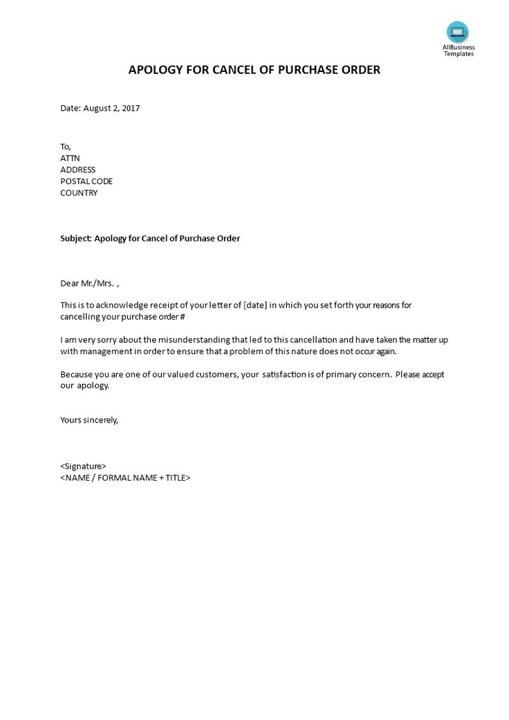 apology for cancel of purchase order - sample letter for apology - witness statement template