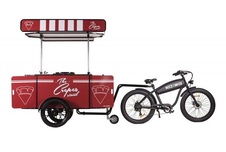 Our crepes Cart towed behind BizzeBike, our hard-working electric bike.    #CrepesCart #Crepes #VendingCart