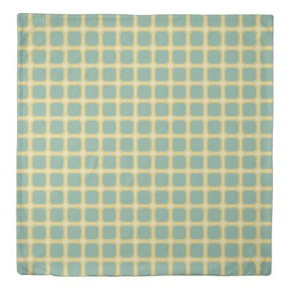 Summer Garden Blue and Yellow Tiles on Cream Duvet Cover - diy cyo customize create your own personalize