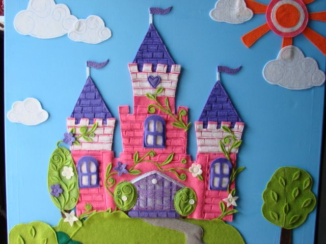 Handmade felt wall art.  This this an original design, original idea, not a copy. Felt pieces had been sewn and glued  to the painted canvas,  Decorated with glitter and wooden decor, Beautiful bright colours, impressive size  could be a finishing touch for your princess bedroom.