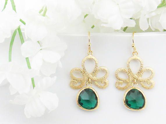 Valentines Earrings May Birthstone Emerald Earrings Green