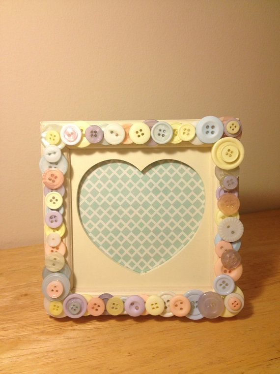 Multi coloured pastel button detail photo frame. on Etsy, £6.50