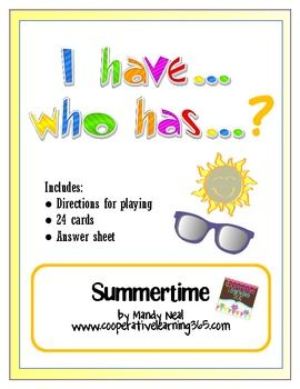 I Have...Who Has...Summertime freebieHas Summertime Freebies, Ideas, Have Who Has Summertime, Classroom Freebies, Havewho, Schools Stuff, Dr. Who, Education, Schools Years