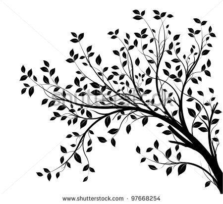 """""""ramas de los árboles silueta aislados sobre un fondo blanco, con gran cantidad de hojas, borde de una página"""""""