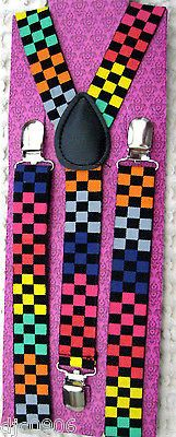Rainbow Multi Color Checkered Unisex Adjustable Y-Back Suspenders-New in Package