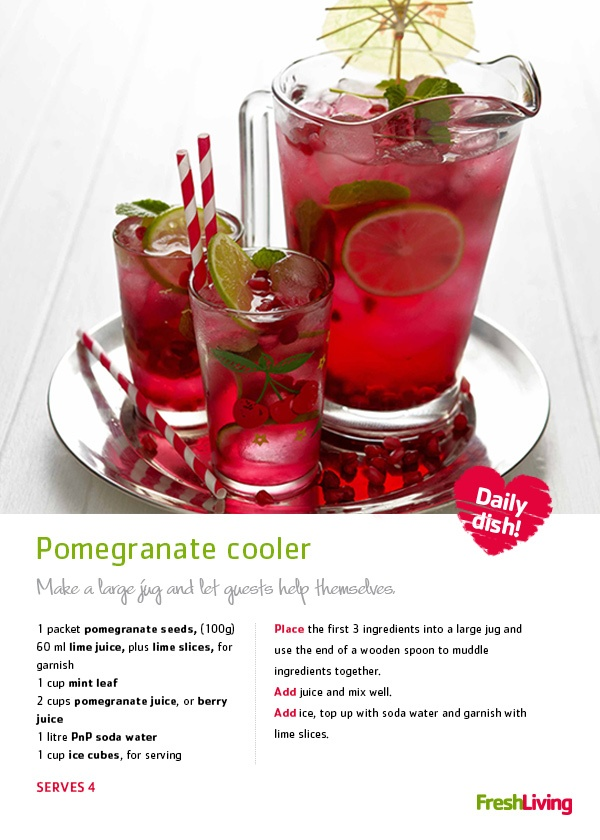 Join us for some Friday fun & serve this #pomegranate cooler as your party punch! #recipe #drinks #dailydish #picknpay