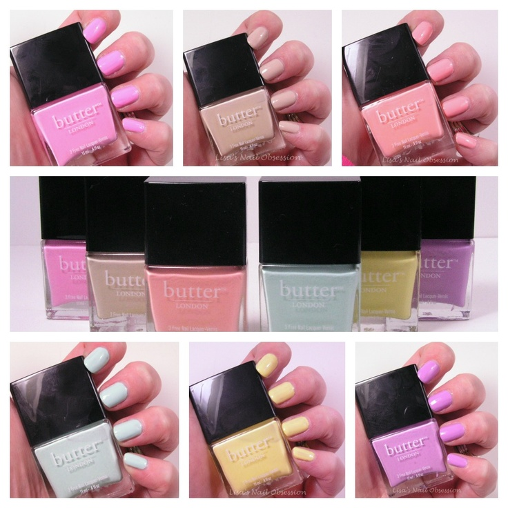 Lisa's Nail Obsession: Butter London Sweetie Shop - Left-Right: Fruit Machine, Cuppa, Kerfuffle,Fiver, Jasper, Molly-Coddled <3