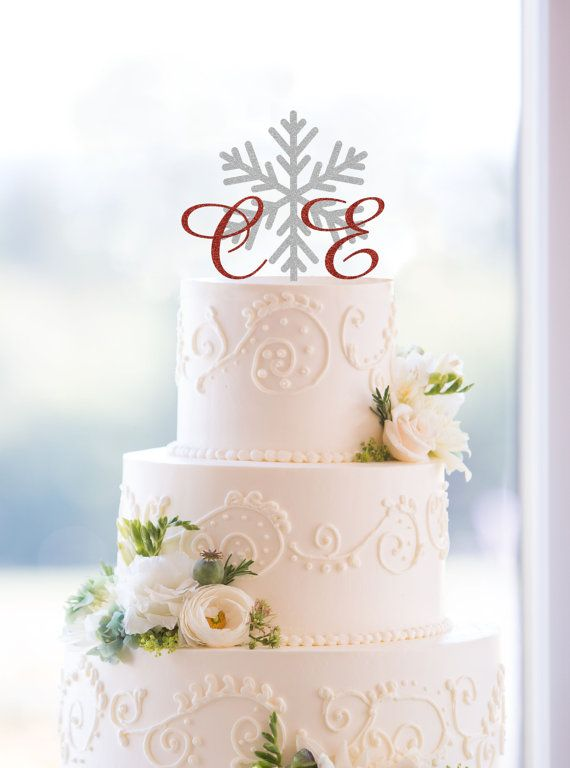 Snowflake Monogram Wedding Cake Topper – Custom Two Initials and Snowflake Topper Available in 15 Colors, 12 Fonts and 6 Glitter Options