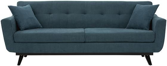 Ava Tufted Sofa - Stretch Out On A Comfy, Cushioned Sofa - Our Button-Tufted Ava Sofa Features Solid Wood Legs In Black Finish And Your Choice Of Comfortable Yet Durable Polyester Upholstery. The Two Foam-Filled Cushions, Square Arms And Tufted Back Provide Seating With Style In Mind. Try This Contemporary Couch In Your Living Room As The Center Of Attention. Tufted Back. Two Seat Cushions. Legs In Black Finish.