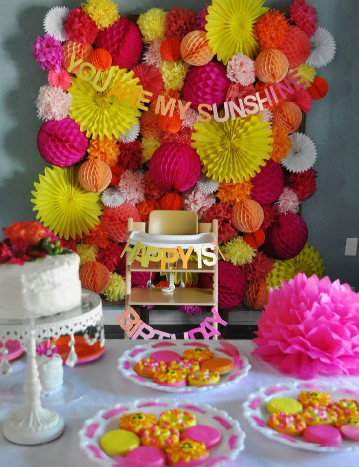 """How beautiful is this?  Recycled poms and pre made flares and balls? Project Nursery - """"You Are My Sunshine"""" First Birthday Party"""