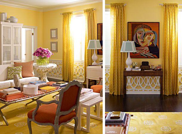 Yellow Orange Living Room Modern Chic Ornament Panels Interesting Wainscoting Treatment The