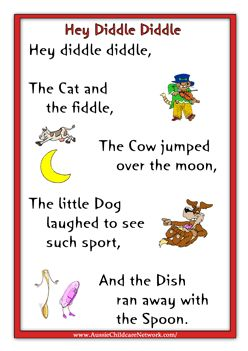 Kids Rhymes Hey Diddly Diddle Nursery Pinterest Preschool And
