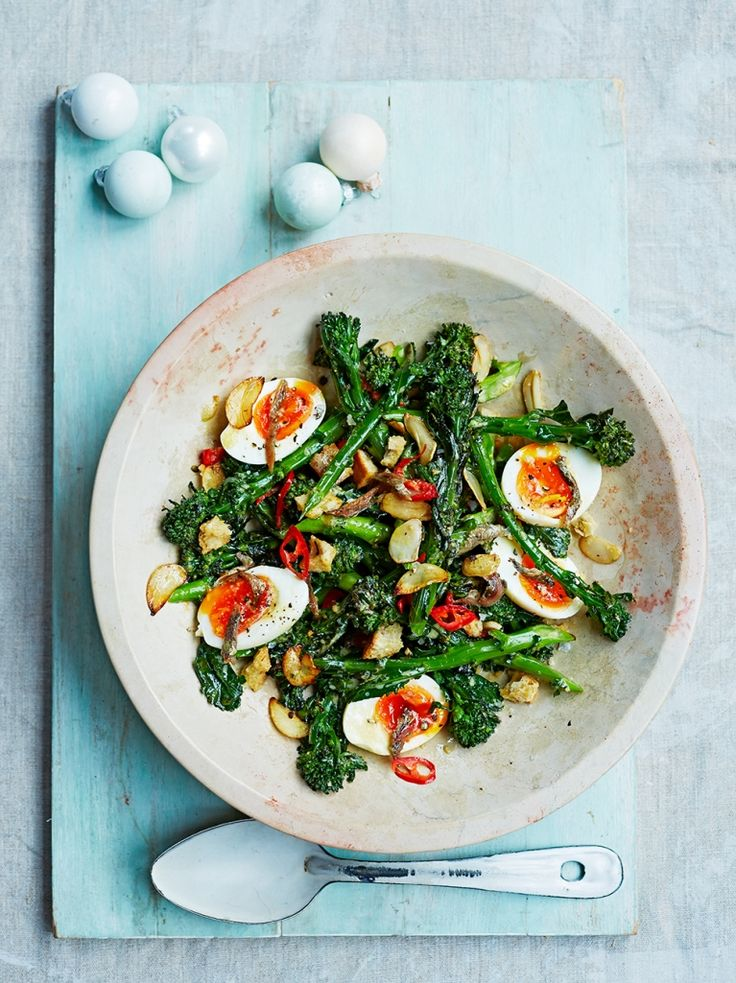 Jamie Oliver... Broccoli & boiled egg salad with anchovies, chillis & croutons. This punchy, crunchy salad is pure goodness on a plate – the perfect foil to indulgent feasting.