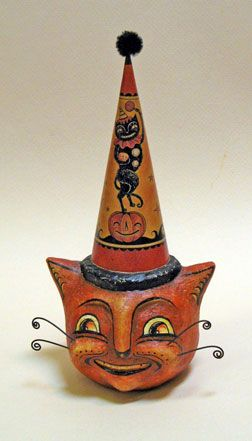 johanna parker sort of a cat sculpture not cat teeth - Vintage Style Halloween Decorations