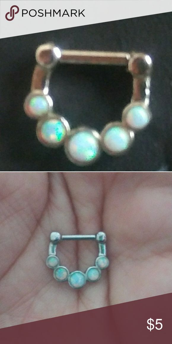Septum Ring Opal stone septum ring Jewelry Rings