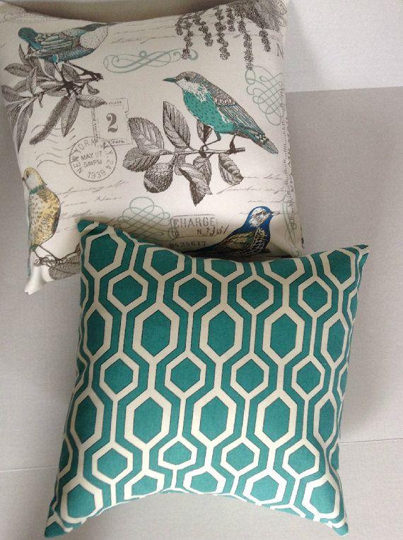Aqua Blue Off White Pillows Decorative Throw Pillow by AggieRay