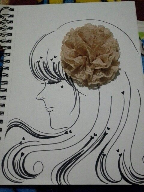 ~Nude A sketch made of ink and an old lace brooch
