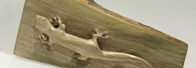 "rzeźba gekona ""Dniówka Madagaskarska"""