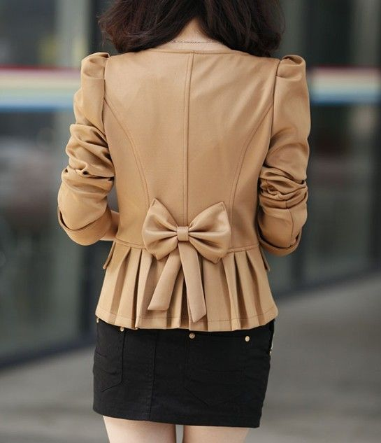 Graceful  Bowknot shrug  long sleeve -Blazers   Blazers_BT (Black,Camel)
