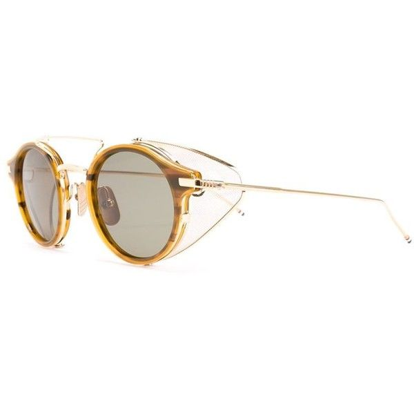 Thom Browne Round Frame Sunglasses ($838) ❤ liked on Polyvore featuring accessories, eyewear, sunglasses, thom browne glasses, unisex sunglasses, round frame glasses, round sunglasses and thom browne eyewear