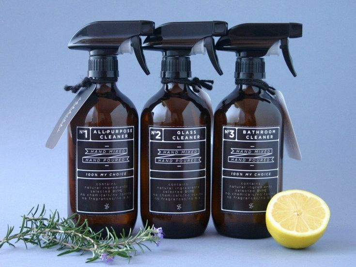 Amber glass spray bottles. DIY cleaning set with black designer re-usable label decals (+ 3 spare trigger sprays) by ByMeHome on Etsy https://www.etsy.com/listing/214305262/amber-glass-spray-bottles-diy-cleaning