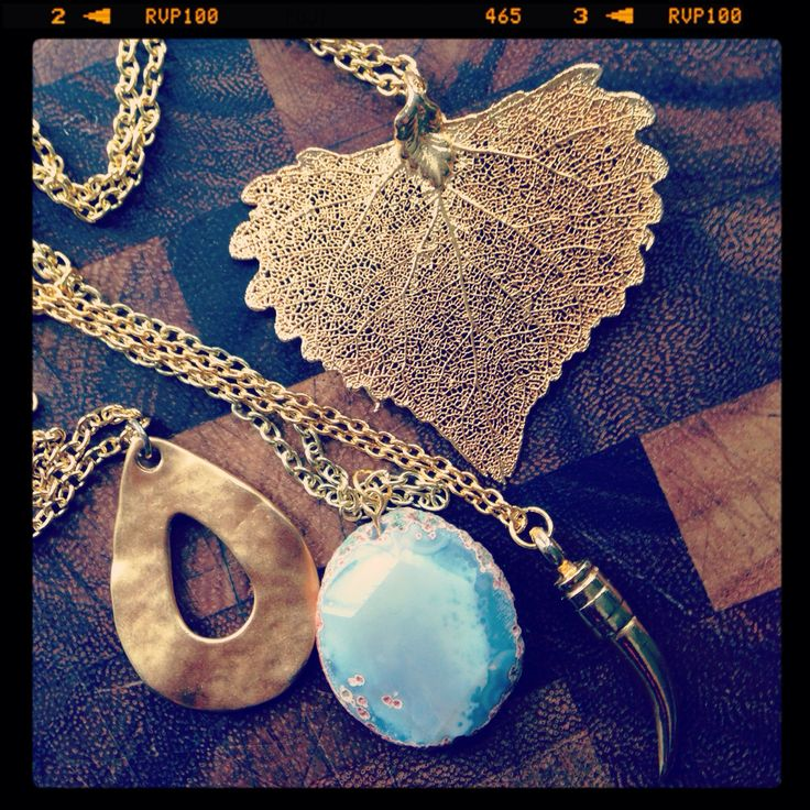 Gold and turquoise bohemian layering necklaces