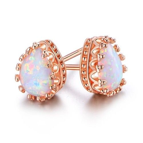 Sold Individually Freedom Fashion Rose Gold Florid Opal Sparkle 316L Gold Plated Steel Belly Button Ring