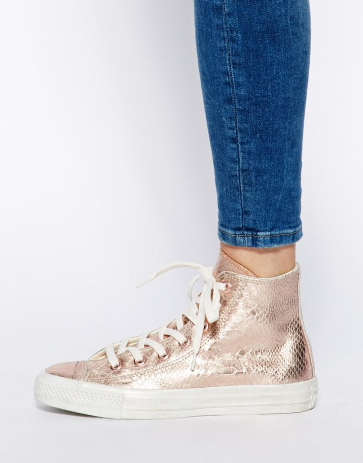 converse chuck taylor all star rose gold leather hi top trainers. Black Bedroom Furniture Sets. Home Design Ideas