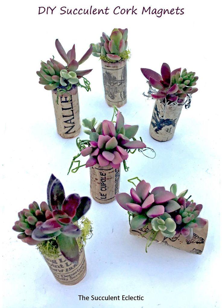 DIY Wine Cork Succulent Magnet Mini Planters