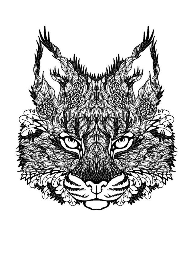 free coloring page coloring difficult cat drawing of leaves constituting a majestic cat head