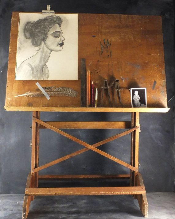Sold Black Walnut Coffee Table Vintage Drafting Tables