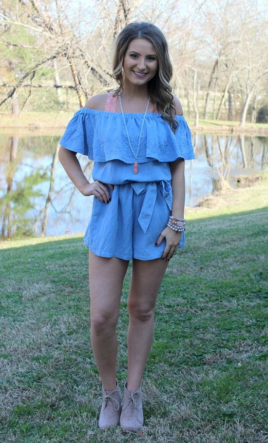 One To Remember Floral Embroidery Off Shoulder Romper in Blue – Giddy Up Glamour Boutique