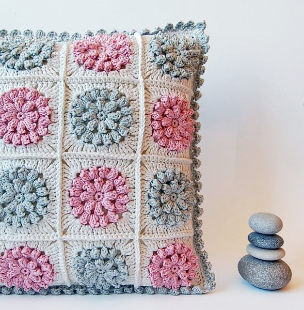 Crochet pillow - free pattern!  Would like to make a blanket with these squares! http://millemakes.wordpress.com/2011/05/22/something-pretty-the-pattern/