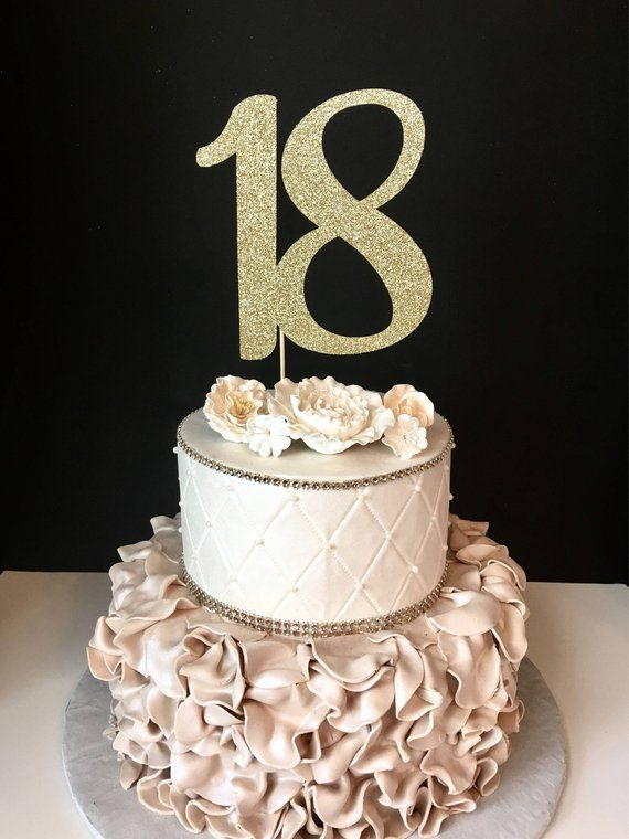 Qualsiasi Numero Gold Glitter 18th Birthday Cake Topper