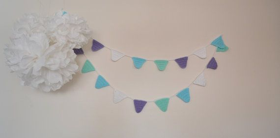 Frozen Inspired Crochet Triangle Bunting Party by LittleFoxCrochet