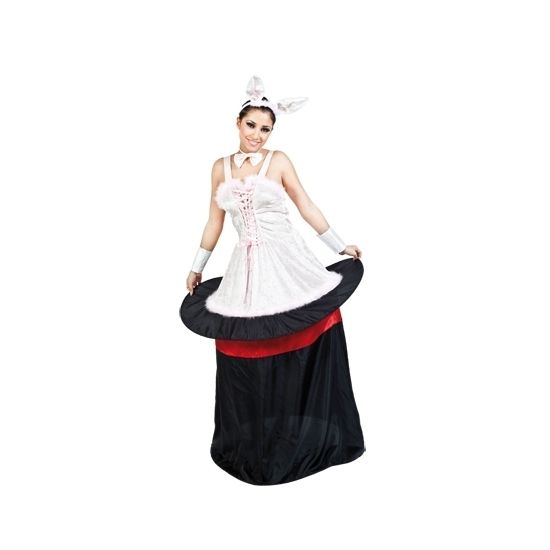 One size konijn uit hoge hoed kostuum voor dames. Ga verkleed als de assistente van de goochelaar met dit grappige kostuum! Het kostuum bestaat uit een jurk met hoepel, een vlinderstrikje en een diadeem met konijnenoren. Materiaal: 100% polyester.