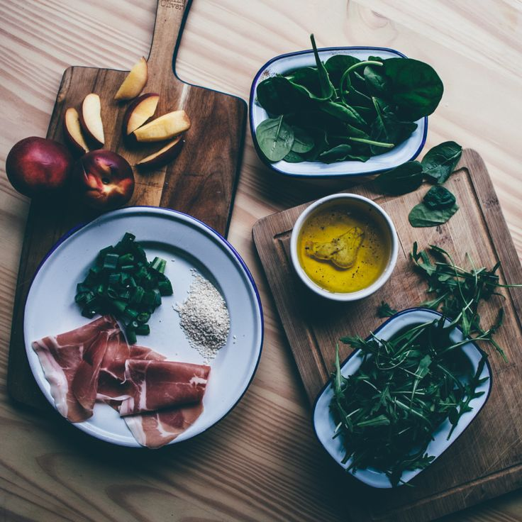 Flat-lay of ingredients from Grilled Nectarine and Parma Ham salad recipe. Find it on Smashed Avocado blog.