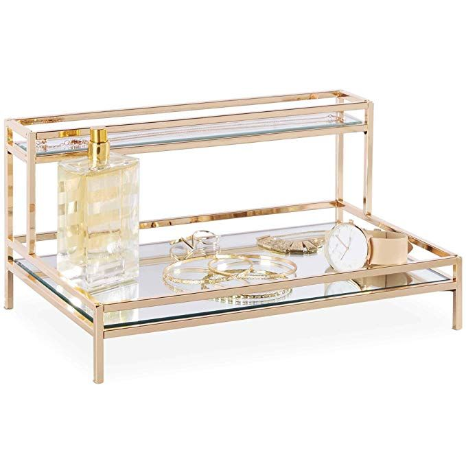 Amazon Com Beautify Mirrored Vanity Tray For Dresser Jewelry And Perfume Tray Two Tier Trays With Champagne Gold Perfume Tray Vanity Tray Jewellery Storage