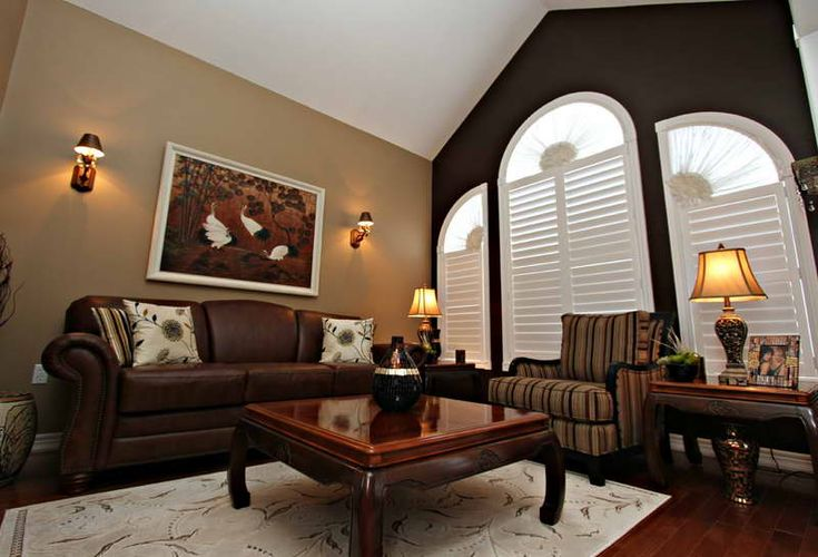 Which paint color goes with brown furniture photos - Living room wall colors for dark furniture ...