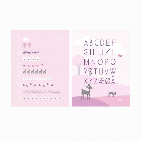Print 2-pack (ABC, 1-10) PINK #poster #plakat #barnerom #babyrom #interiør #lillemeg