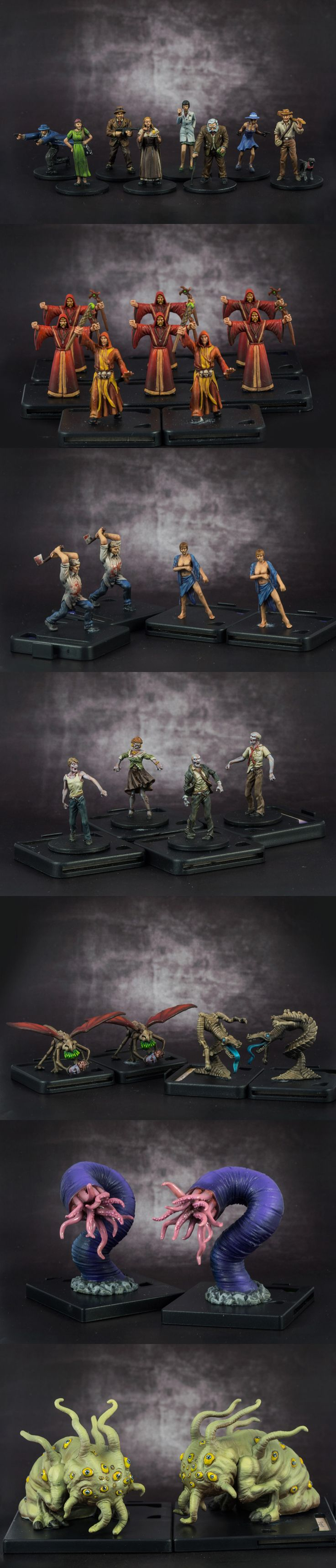 """Painted up all the miniatures for Mansions of Madness, by Fantasy Flight Games. The only difference is I substituted the stock zombies with some walkers from """"Zombicide."""""""